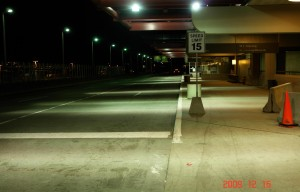 Before: This photo displays the low illumination level at the Pittsburgh International Airport before ImbuTec installed lighting.